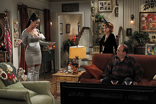 Katy Mixon as Victoria, Swoosie Kurtz as Joyce and Louis Mustillo as Vince on Mike & Molly.  Photo courtesy of CBS