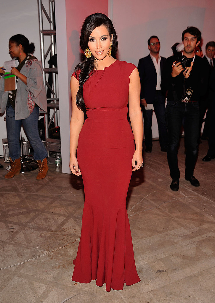 Kim Kardashian chose a formfitting red gown.