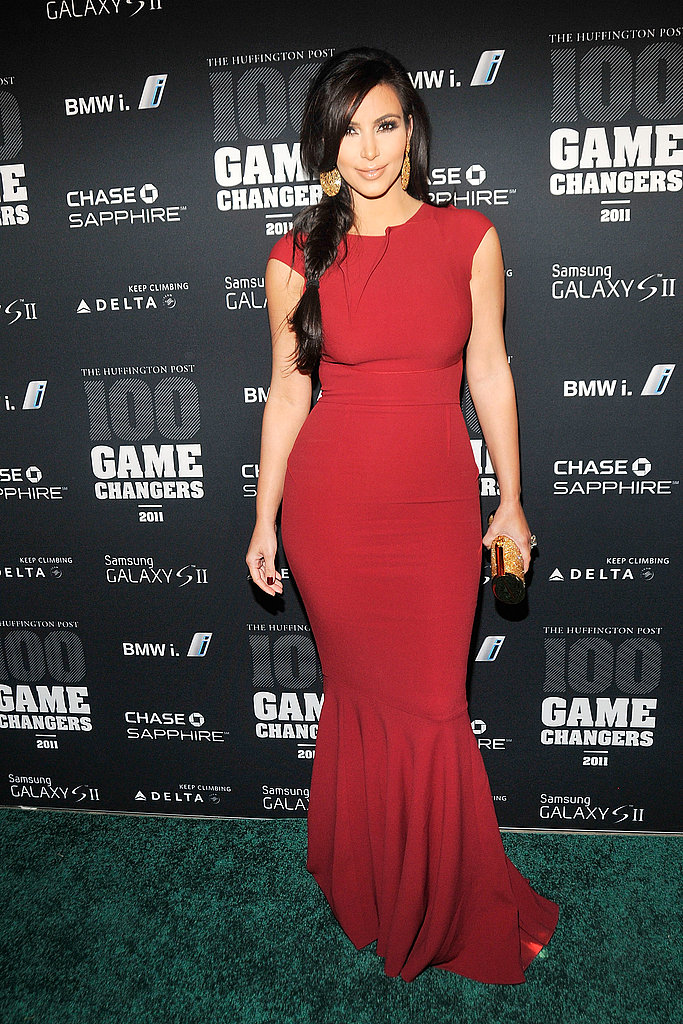Kim Kardashian strutted her stuff in red.