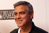 George Clooney looked happy in London.