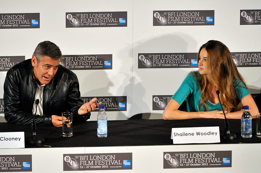 George Clooney talked while Shailene Woodley looked on during a press conference.