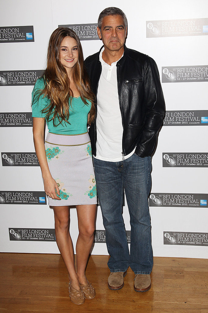 George Clooney and Shailene Woodley at a photo call for The Descendants in London.