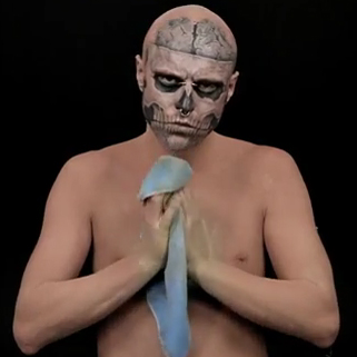 "Watch ""Zombie Boy"" Rick Genest Get His Tattoos Covered With Concealer"