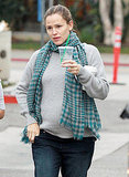 Jennifer Garner cozied up in a sweater and scarf.