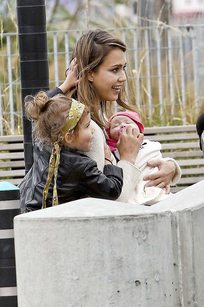 Jessica Alba with Haven and Honor at a park in NYC.