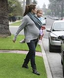 Jennifer Garner carried Seraphina Affleck to their car.
