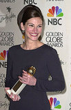 Julia Roberts showed her megawatt smile after winning a Golden Globe in 2001.