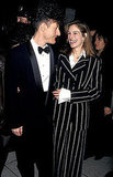 Julia Roberts smiled in a black and white striped suit at the New York Film Festival in 1993 with then-husband Lyle Lovett.
