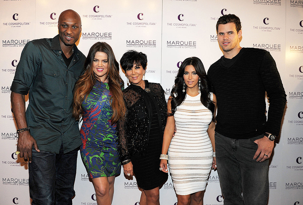 Kim Kardashian posed with her husband, Kris Humphries, her mother, Kris Jenner, her sister, Khloe Kardashian, and Khloe's husband Lamar Odom.