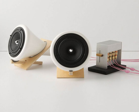 For a natural yet modern look, pick up a set of Joey Roth speakers ($498) crafted of ceramic, cork, and Baltic birch wood. Their simple elegance can be paired with MP3 players, turntables, computers, and televisions, they and run on an AC power adapter.