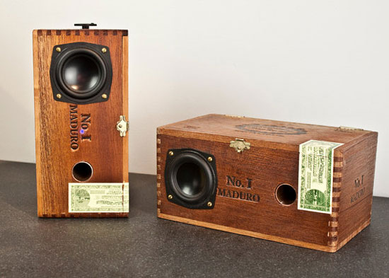 The refined, rustic look of the Maduro Sonos desktop speakers ($350) fits right in with a collection of flea market finds. Each custom cedar cigar box speaker sits eight inches high and can be used with any device that has a 3.5mm stereo headphone jack.