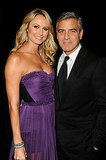 George Clooney cozied up to girlfriend Stacy Keibler.