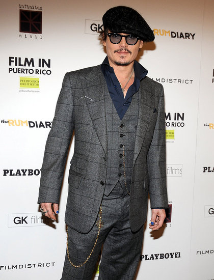 Johnny Depp wore a three-piece suit to the premiere.