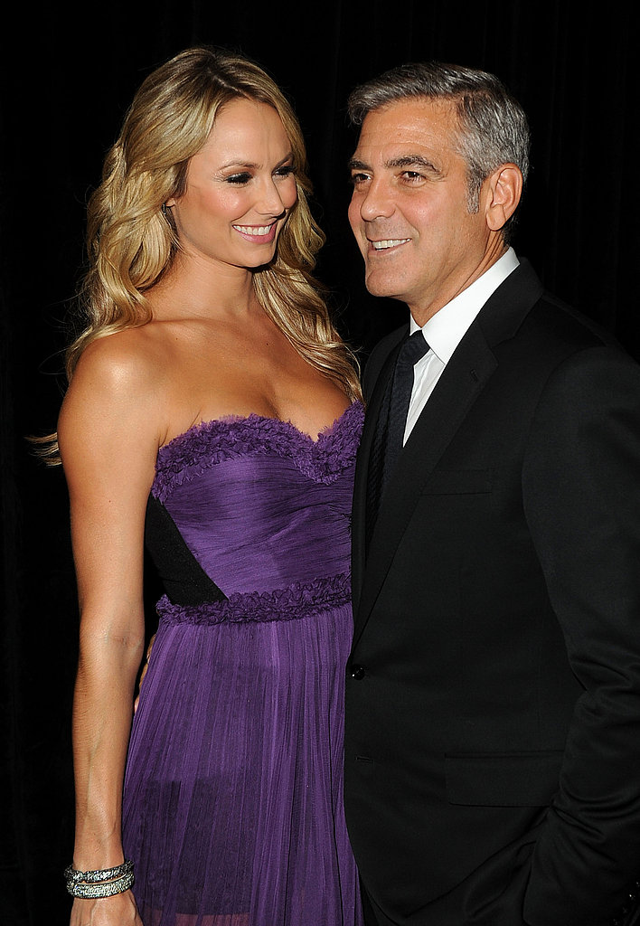 Stacy Keibler checked out her boyfriend George Clooney.