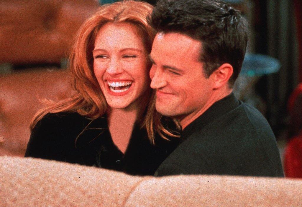 Remember when Julia Roberts appeared on an episode of Friends? Here she is flashing her signature smile with Matthew Perry in 1996.