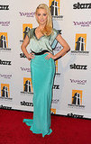 Amber Heard in a turquoise dress at the Hollywood Film Awards.