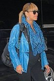 Beyoncé Knowles wore a blue leather jacket to an NYC office.