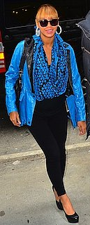 Beyonce in Blue Leather Jacket and Black J Brand Jeans