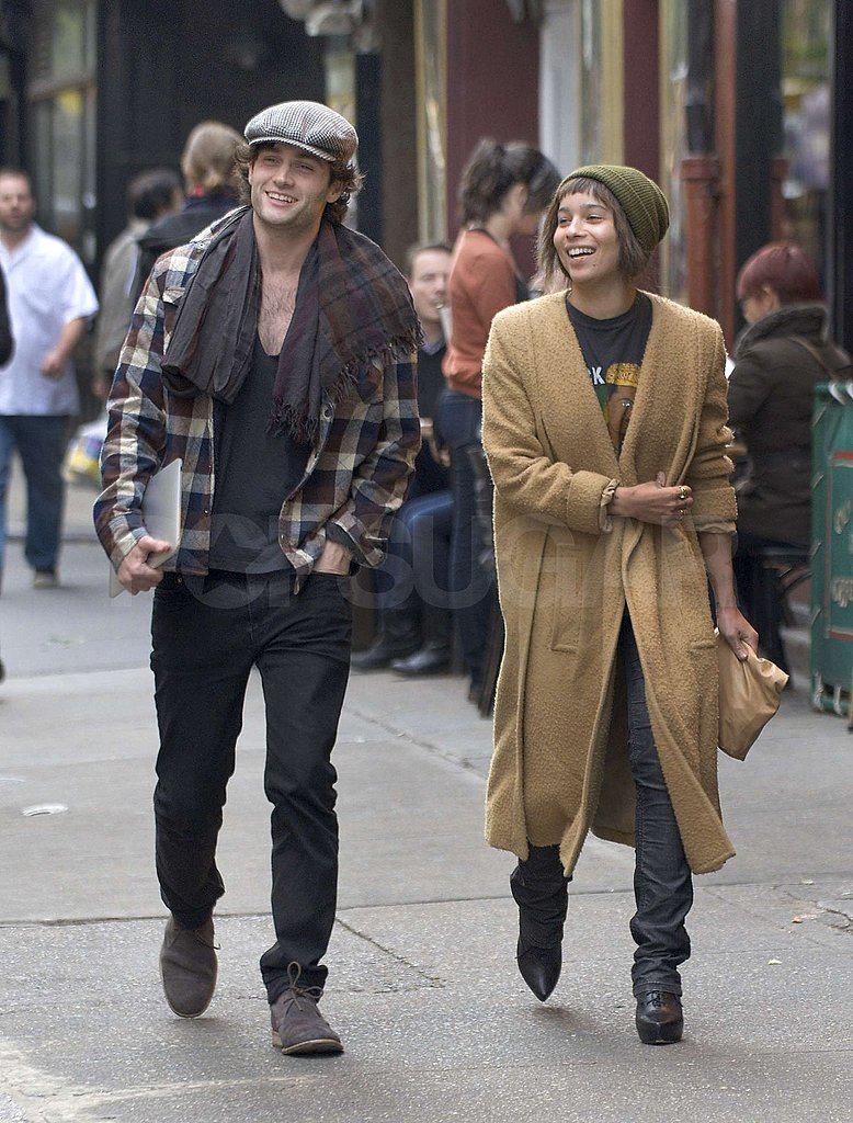Penn Badgley and Zoe Kravitz shared a laugh.