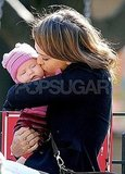Jessica Alba gave Haven Warren a kiss in NYC.