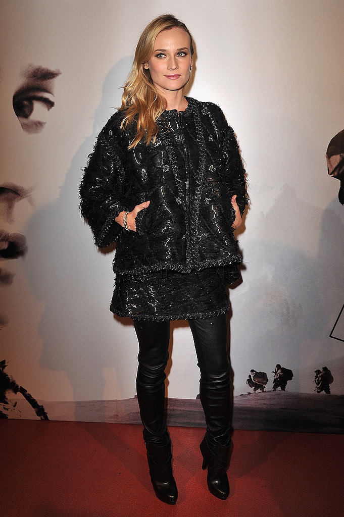 Style pro Diane Kruger is the epitome of renegade chic in a rich, textural topper and tough-girl boots and leggings.