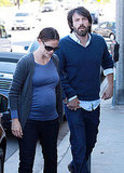 Jennifer Garner and Ben Affleck holding hands.
