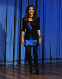 Salma Hayek wore a bright blue dress.