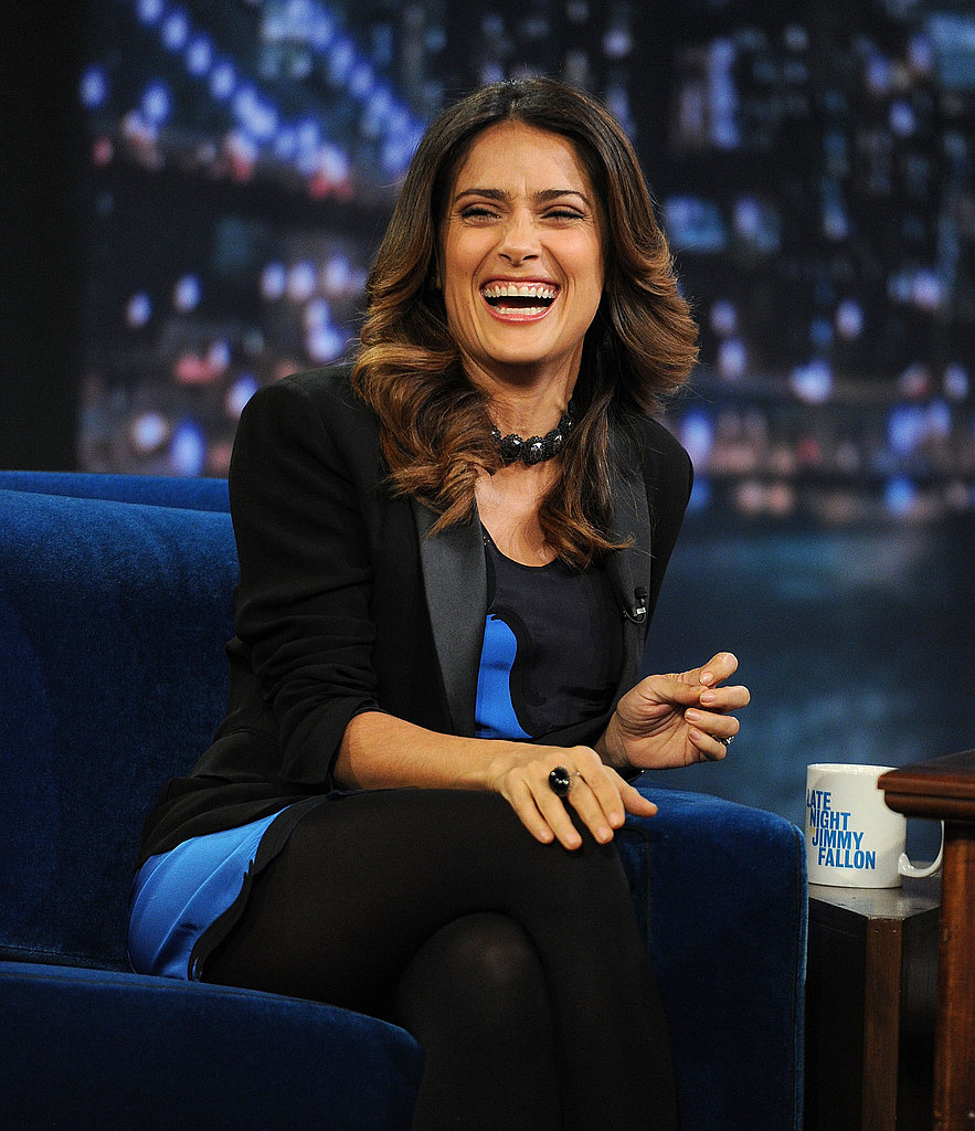 Salma Hayek shared a laugh with Jimmy Fallon.