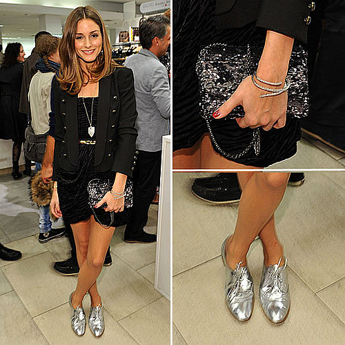 Celeb Style: Olivia Adds Metallic Oxfords to Her LBD