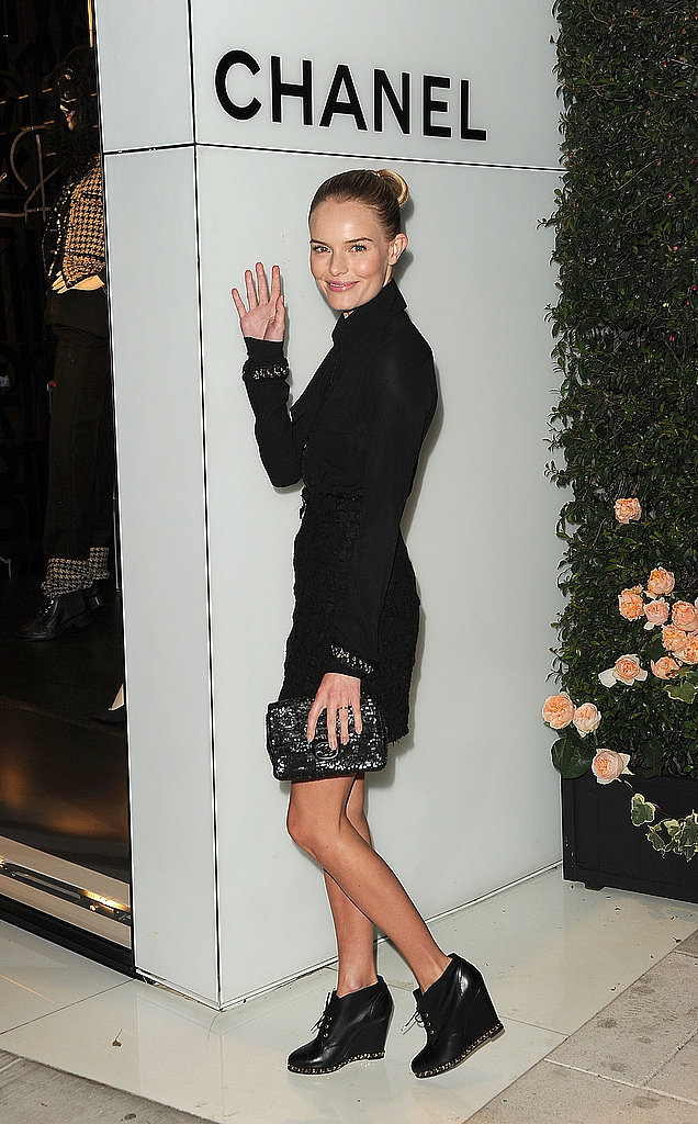 Kate Bosworth waved on her way inside Chanel's LA shop.