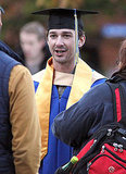 Shia flashed a happy graduation smile for the cameras.