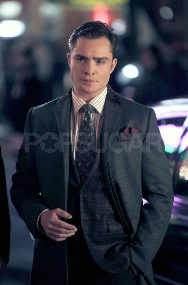 Ed Westwick filming Gossip Girl in NYC.