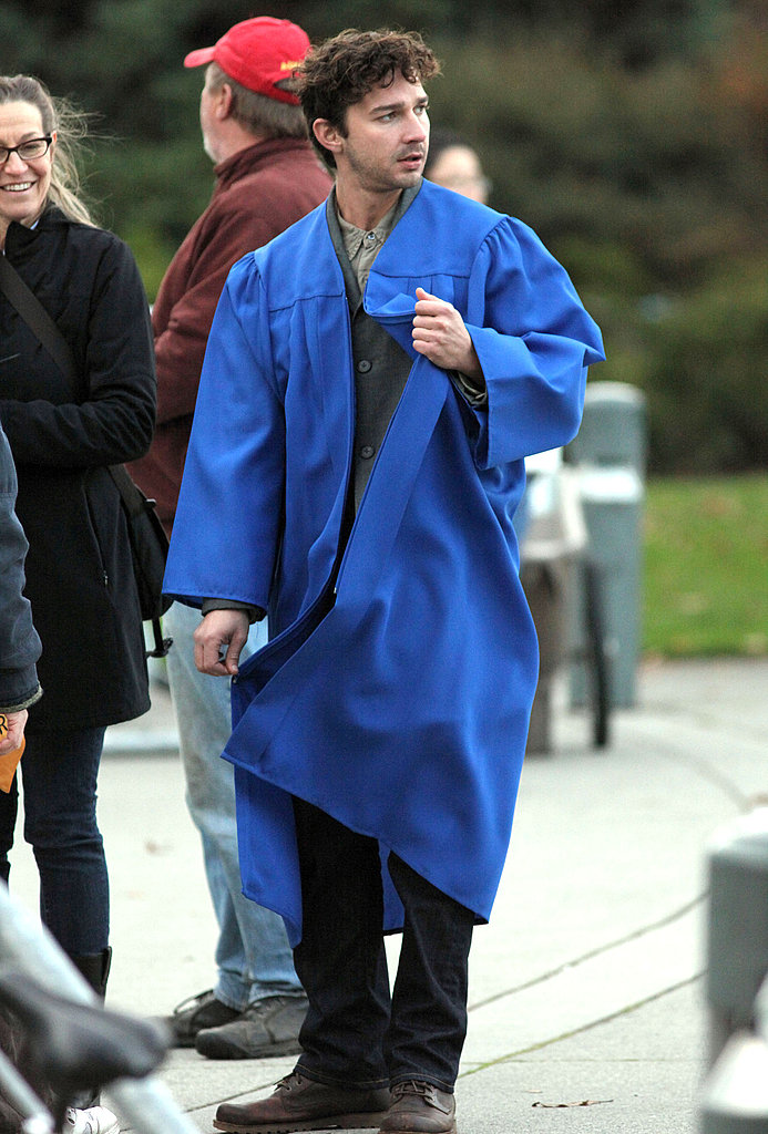 Shia filmed a graduation scene outdoors on location in Vancouver.