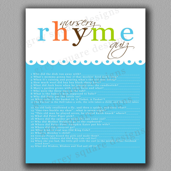 Nursery Rhyme Quiz ($8)