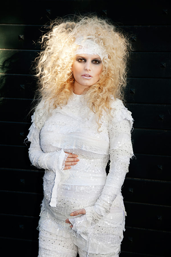 Jessica Simpson pregnant in a mummy costume.