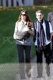 Carla Bruni and Nicolas Sarkozy took a walk with baby Giulia Sarkozy.