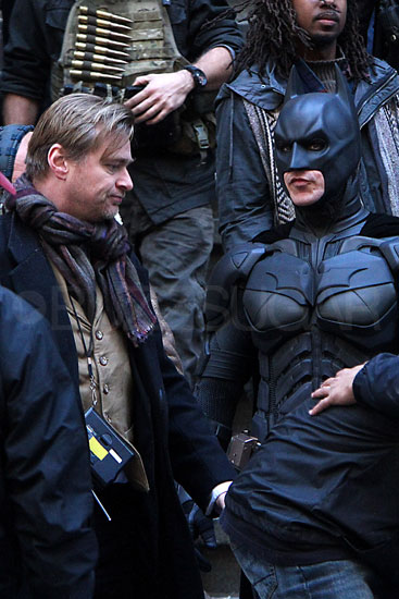 Christian Bale as Batman on the set of The Dark Knight Rises.