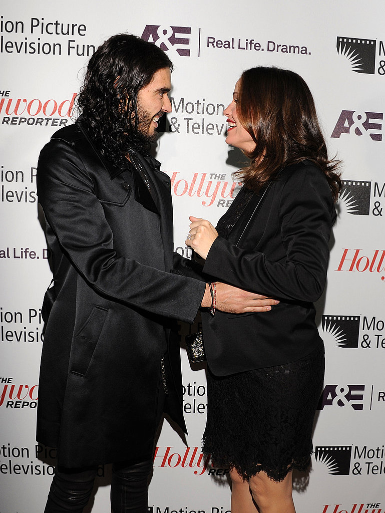 "Russell Brand greeted Jennifer Garner at the Motion Picture & Television Fund's ""Reel Stories, Real Lives"" in Hollywood."