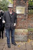 Johnny Depp posed outside the Oxford Union.