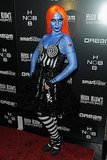 Michelle Trachtenberg in blue body paint on Halloween.