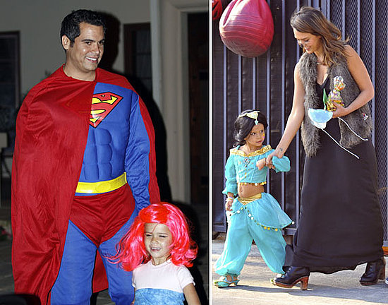 Jessica Alba Takes Her Princess Out For a Super Halloween With Cash Warren