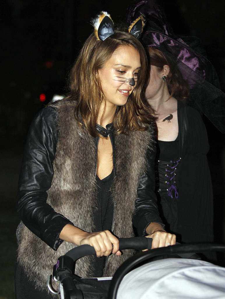 Jessica Alba in a cat costume.