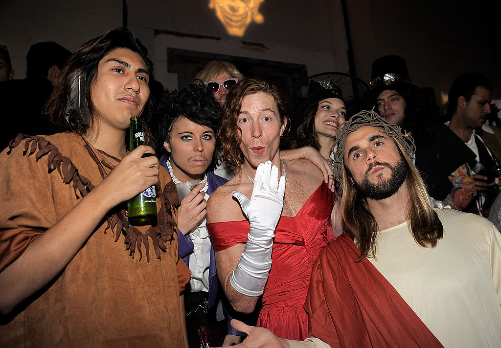 Shaun White wore a red ball gown for Halloween.