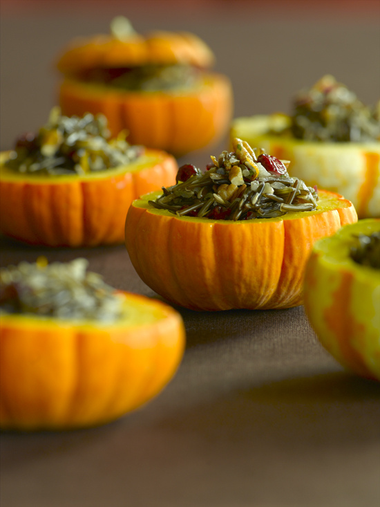 Wild Rice Stuffed Mini Pumpkins