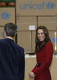 Kate Middleton smiled on a visit to Copenhagen's UNICEF emergency supply center.
