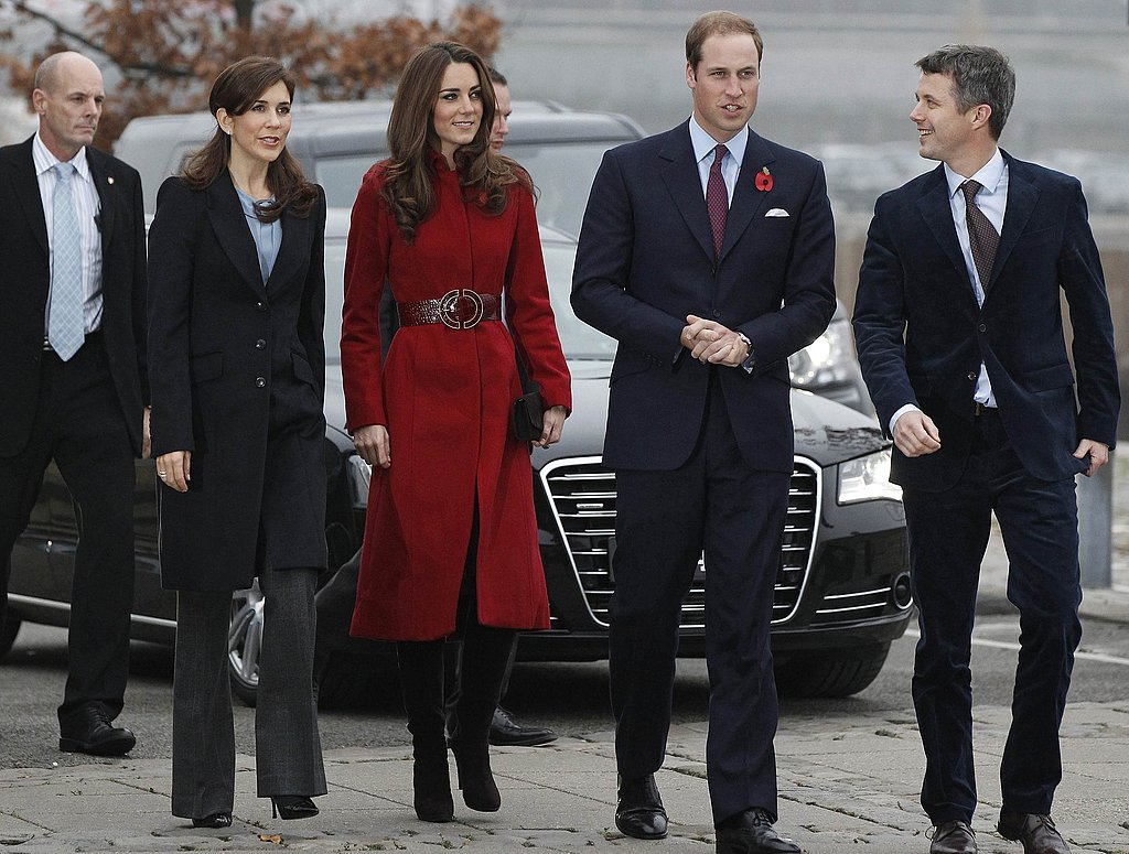 Crown Princess Mary of Denmark, Catherine, Duchess of Cambridge, Prince William, Duke of Cambridge and Crown Prince Frederik of Denmark arrive for a visit to the UNICEF Emergency Supply Centre in Copenhagen, Denmark.