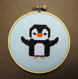 Dancing Baby Penguin Cross Stitch Pattern ($4)