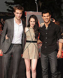 Kristen Stewart, Robert Pattinson, and Taylor Lautner stood on their Walk of Fame plaque.