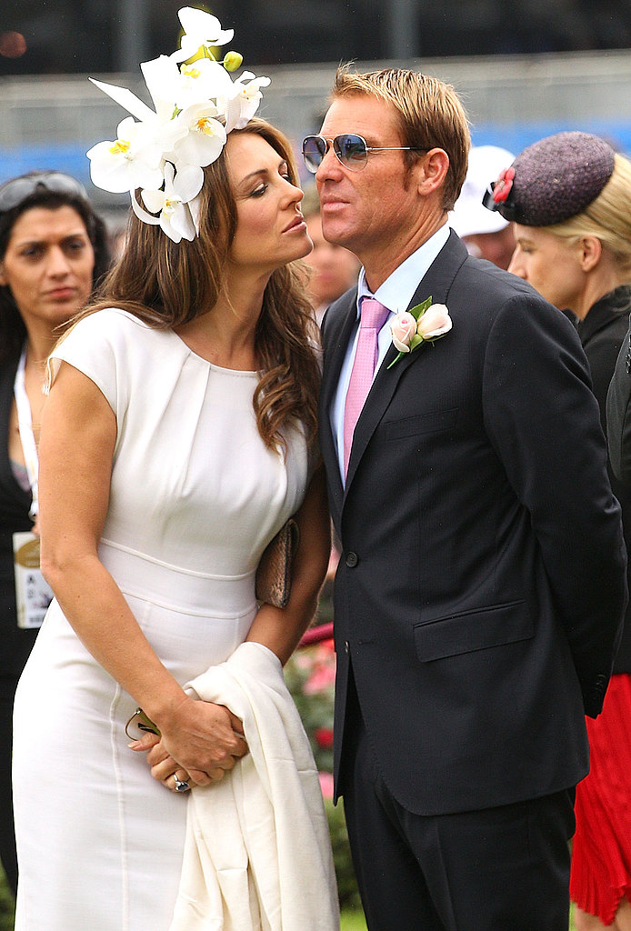 Elizabeth Hurley went in for a kiss with Shane Warne.