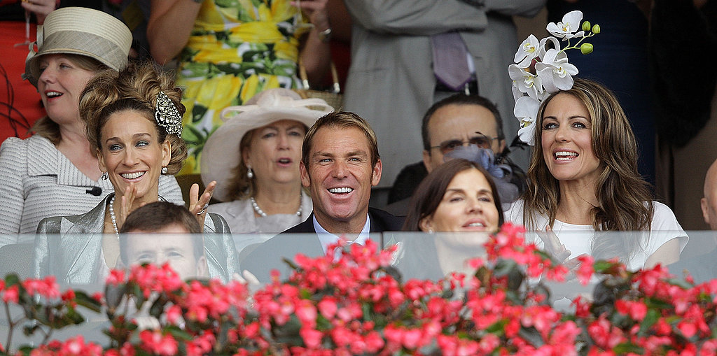 Sarah Jessica Parker and Elizabeth Hurley cheered on the races at Crown Oaks Day.